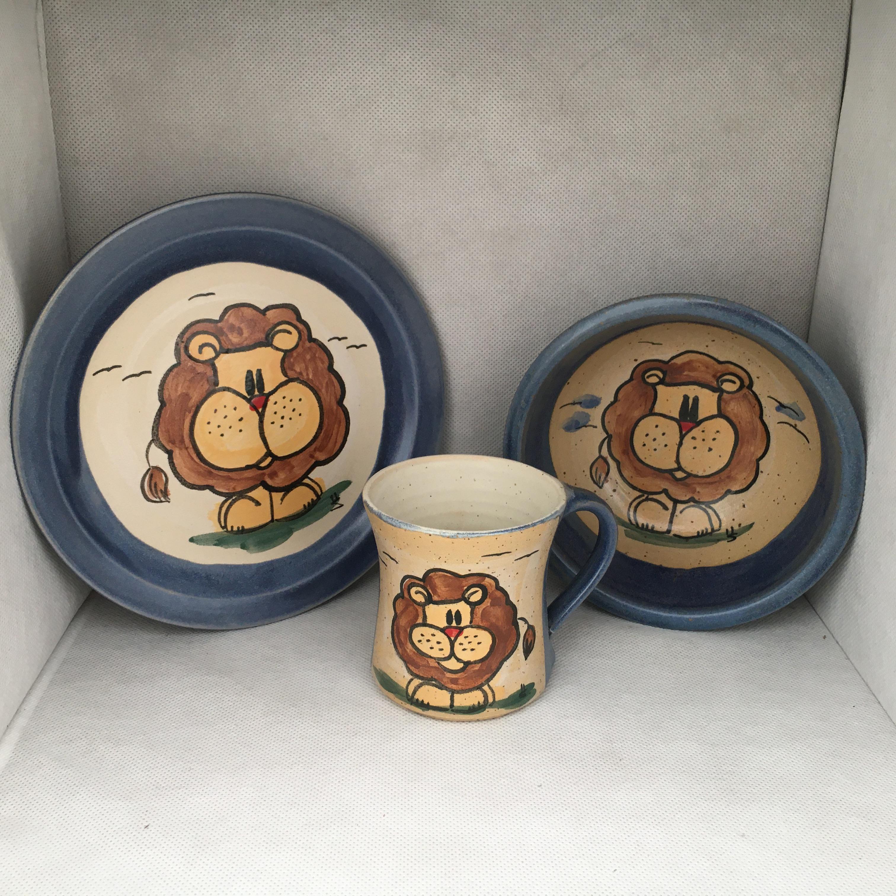 Löwe SET: Tasse-Teller-Müslischale